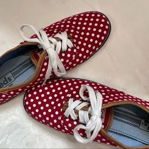 Keds Washable Champion Red with White Polka Dots